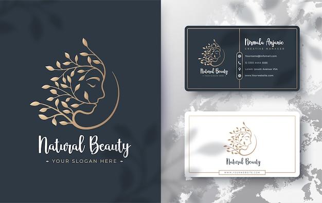 花の美しさの女性のロゴと名刺のデザイン
