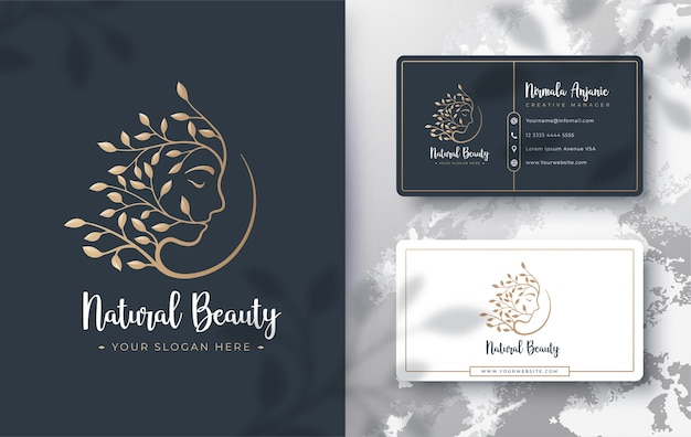 Floral beauty women logo and business card design