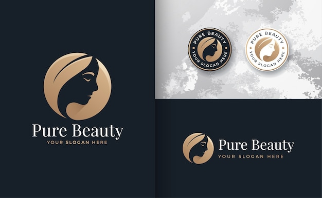 花の美しさの女性のロゴのデザイン