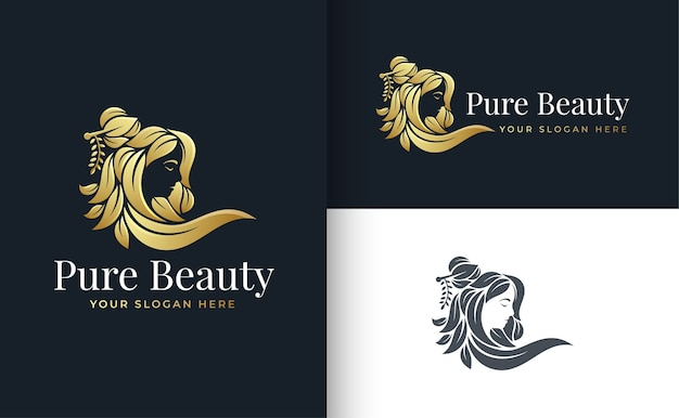 Floral beauty women logo design