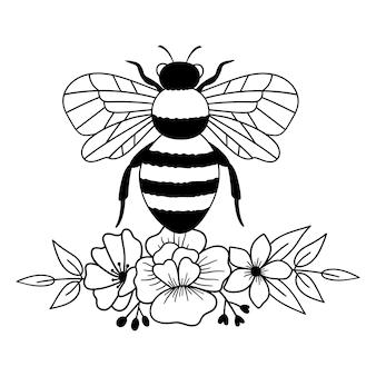Цветочная пчела пчела с цветами наброски рисования линии векторные иллюстрации
