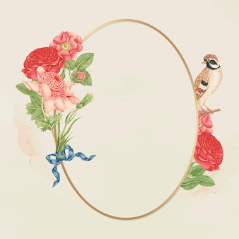 Floral bird gold frame, remixed from the 18th-century artworks from the smithsonian archive.