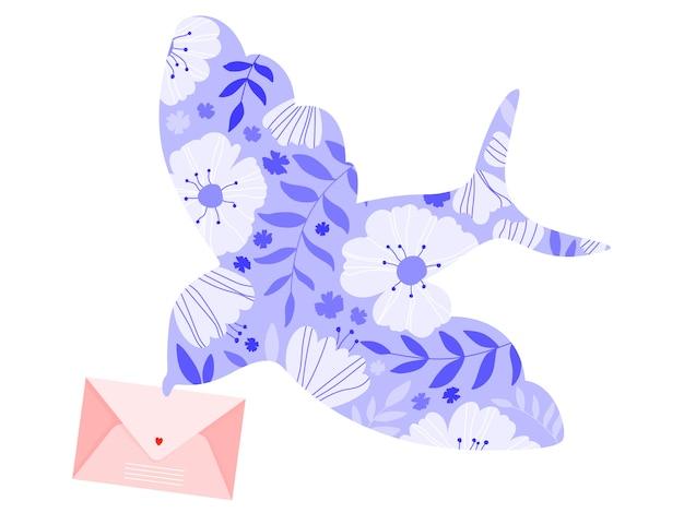 Цветочная птица держит конверт. красивый фиолетовый силуэт птицы, полный цветов. авиапочта и день святого валентина. птица доставляет любовное письмо. летящая птица с широко открытыми крыльями. изолированная иллюстрация