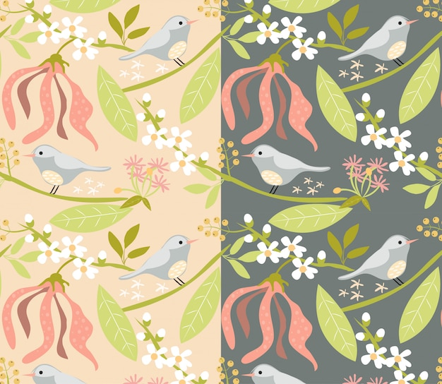 Floral and bird pattern on pink and dark grey background