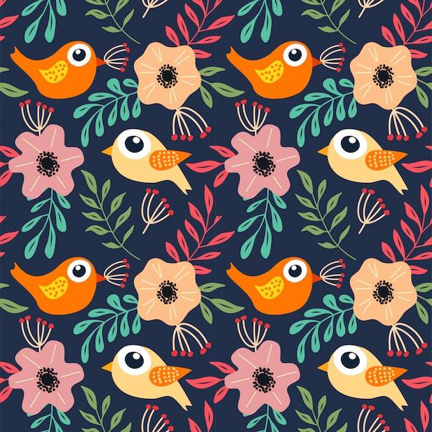 Цветочная птица бесшовный фон