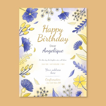 Floral birthday card invitation template