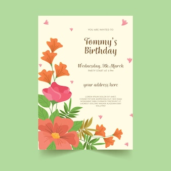 花の誕生日カードテンプレートデザイン