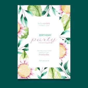 花の誕生日カードテンプレートスタイル