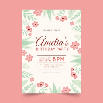 Floral birthday card template