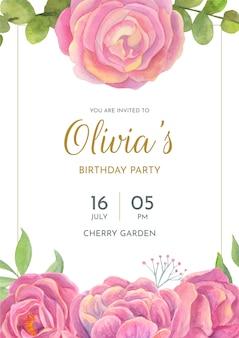 花の誕生日カードテンプレート