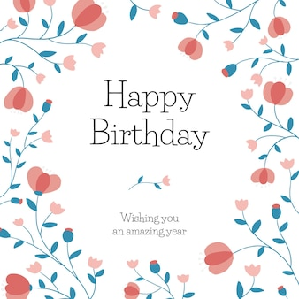 ソーシャルメディアの投稿のための花の誕生日の挨拶テンプレートベクトル