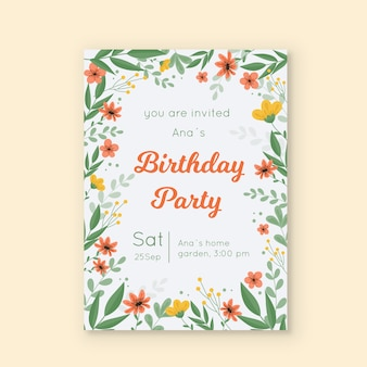 Floral birthday invitation card template