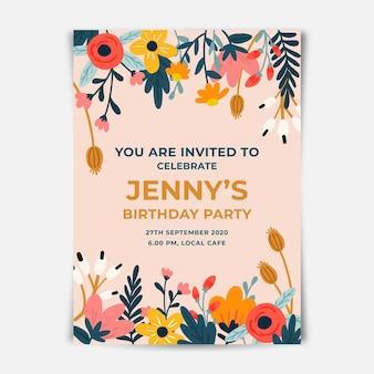 Цветочный дизайн приглашения на день рождения