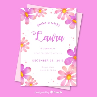 Floral birthday invitation for girl template