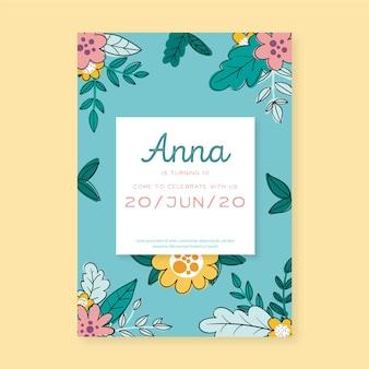 Floral birthday invitation template concept