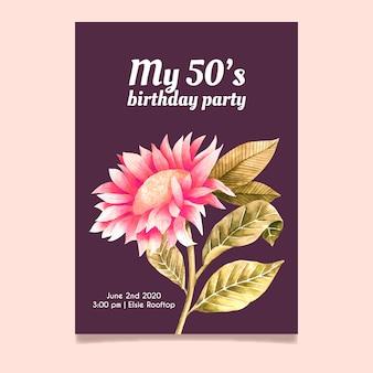 花の誕生日の招待状テンプレートコンセプト