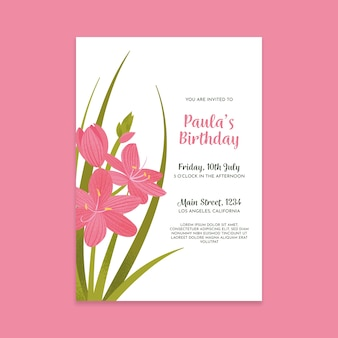 Floral birthday invitation template design