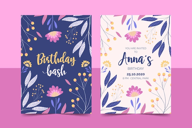 Floral birthday invitation template set