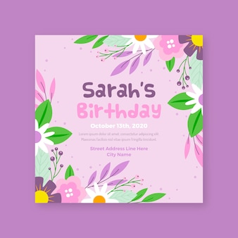 Floral birthday invitation template theme