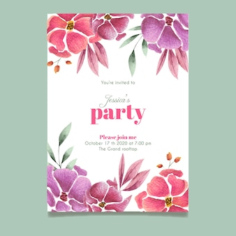 花の誕生日の招待状テンプレートテーマ