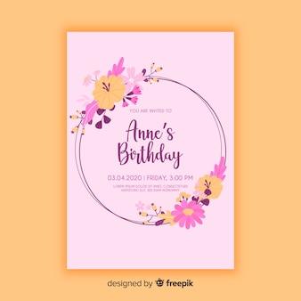 Floral birthday invitation template