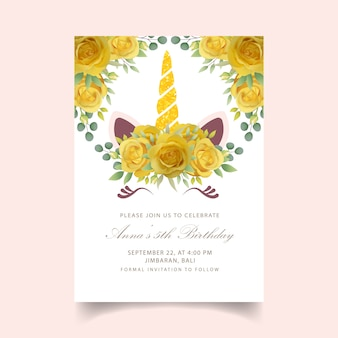 Floral  birthday invitation with cute unicorn