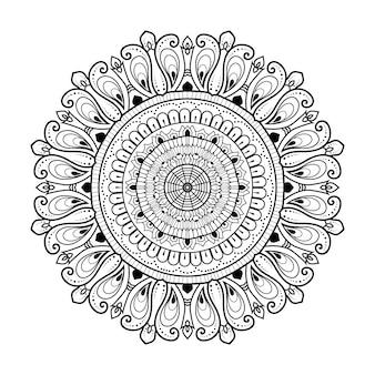 花の黒と白のアウトライン装飾マンダラ