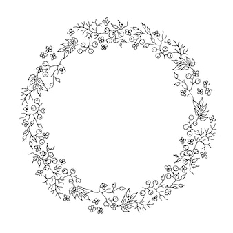花の黒と白のラウンドリース手描き