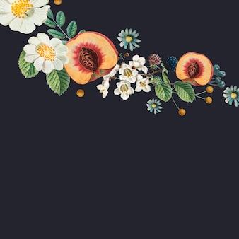 花の黒い背景とデザインスペースヴィンテージイラスト