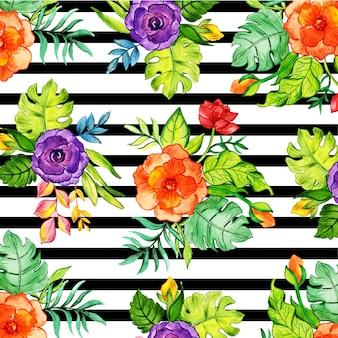 꽃 검은 줄무늬 배경