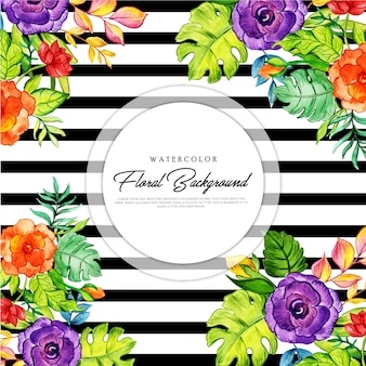Floral black stripe background