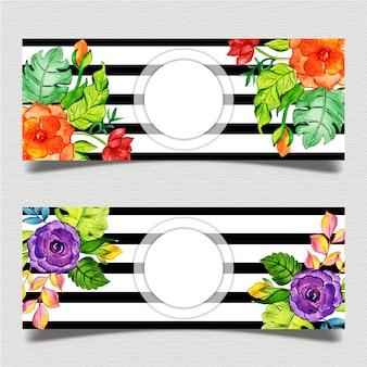 Floral black stripe banner template