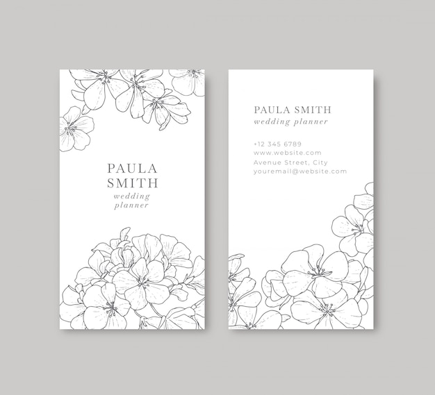 Floral black and white business card
