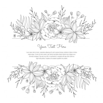 Floral black and white decorative frame