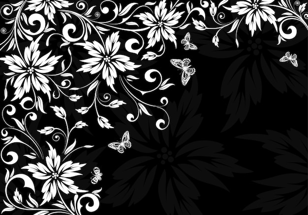 Floral black and withe background