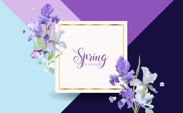 Цветочный весенний баннер с фиолетовыми цветами ириса