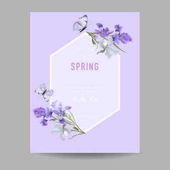 Цветочная весенняя рамка с фиолетовыми цветами ириса