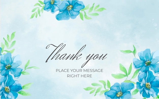 Floral blue banner with thank you