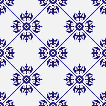 Цветочный синий узор