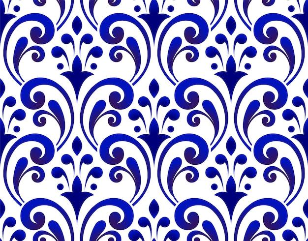 フローラルブルーパターン