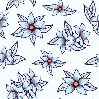 白い背景で隔離のシームレスな花柄ブルー