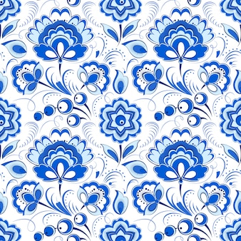 Floral blue seamless pattern in russian country style