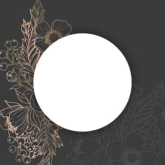 花ボーダーベクトル-ブラックとゴールド