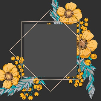 Floral boarder vector - black and gold