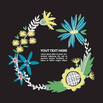 手で花のボーダーには、花が描かれています。あなたのテキストのための野生の花の花輪の場所。ポスター、記事、招待状、ベビーシャワー、カードのカラフルな落書きテキストフレーム。