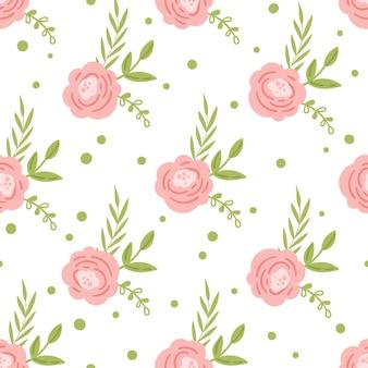 Цветочные бохо бесшовные модели, весенние розовые цветы