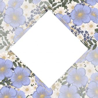 花の境界線の背景-水色の花