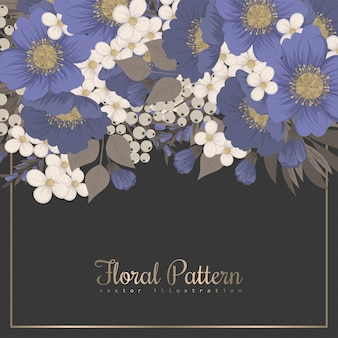 Floral border background - light blue flowers