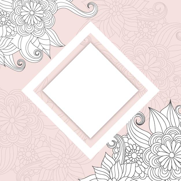 花の境界線の背景-ピンクの花の境界線