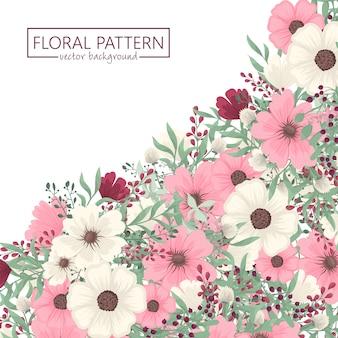 꽃 테두리 배경-분홍색 꽃 테두리